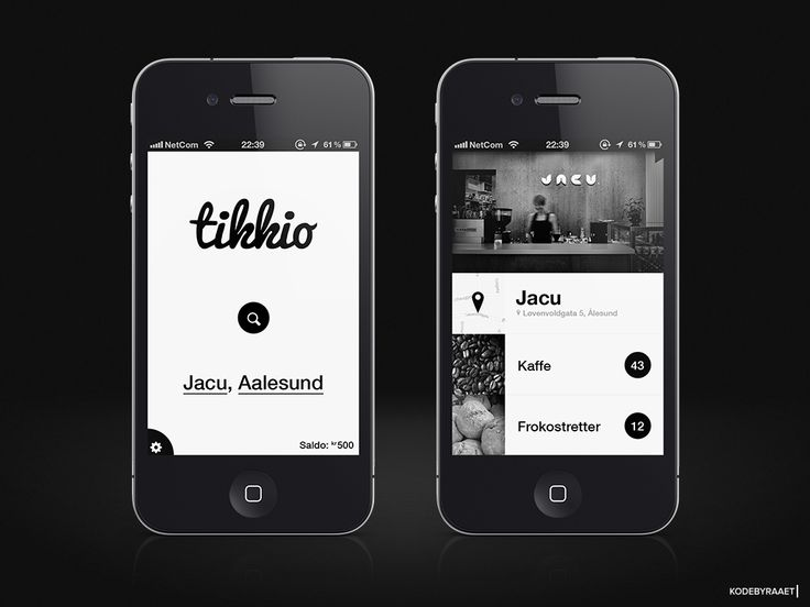 Black & White App design