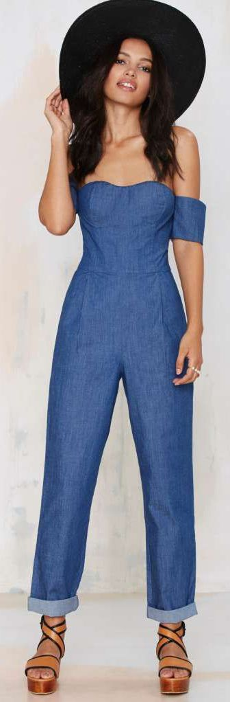 Set Sail Denim Jumpsuit ==