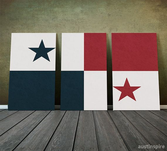 Panama Flag Triptych Canvas Metal or Matte Print by Austinspire