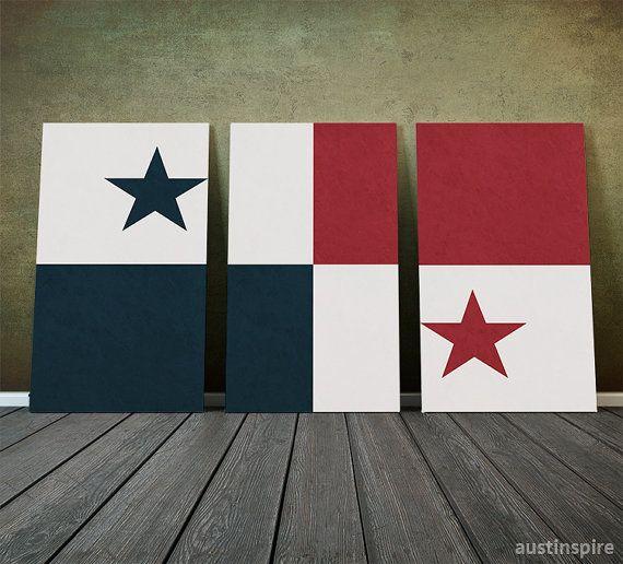 Panama Flag Triptych Canvas Metal or Matte Print by Austinspire✖️FOSTERGINGER AT PINTEREST ✖️ 感謝 / 谢谢 / Teşekkürler / благодаря / BEDANKT / VIELEN DANK / GRACIAS / THANKS : TO MY 10,000 FOLLOWERS✖️