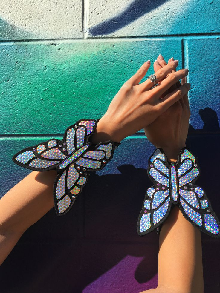 Holographic   Butterfly   Arm Braces   Rave Jewelry   Rave Accessories   Armor   Butterfly Bracelet   Butterfly Jewelry   EDC   Burning Man