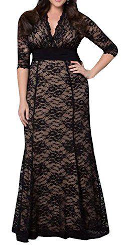 Women's Solid V-Neck Long Sleeve Plus Size Evening Party Maxi Dress DEARCASE http://www.amazon.com/dp/B016OBDW7G/ref=cm_sw_r_pi_dp_txJswb1200K81