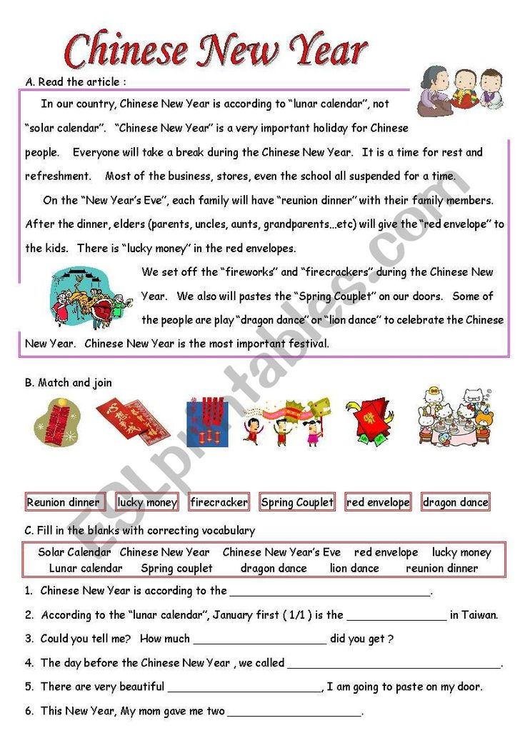 Chinese New Year ESL worksheet by Melissa Hunag in 2020