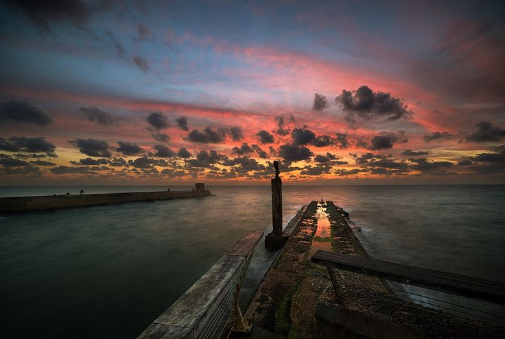 Old port sunset - The old port of Tel Aviv at sunset.