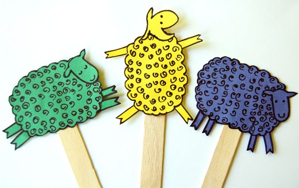 Make Fun Sheep Puppets - Art Project for Where is the Green Sheep Here is a fun art project to do with preschoolers that goes along with reading Where is the Green Sheep? by Mem Fox.
