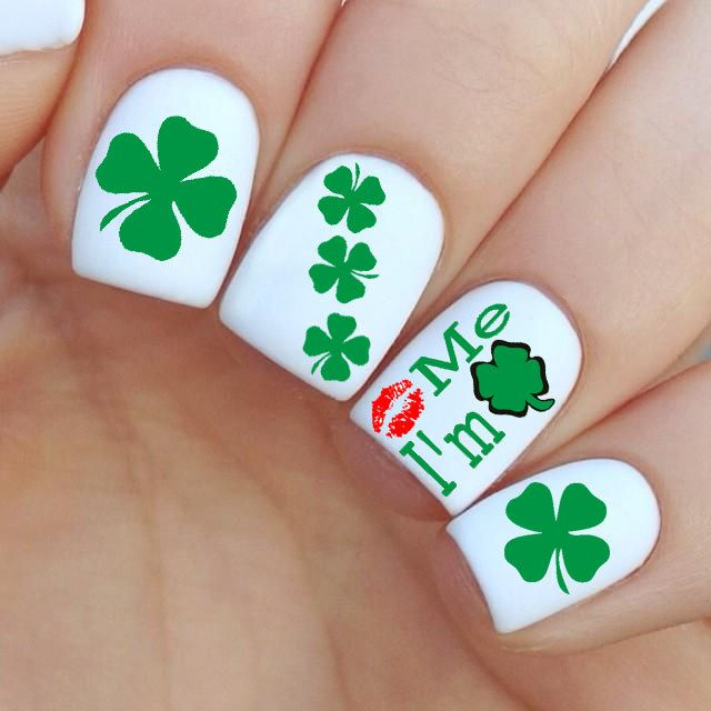 Kiss Me I'm Irish Nail Decal by MilieNailsCreation on Etsy
