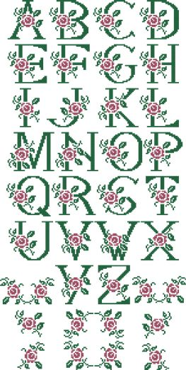 SKU 10305 Rose monogram alphabet cross stitch set