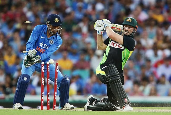 Shaun Marsh (above) found it tough to accelerate at the pace of Shane Watson and was eventually castled by Ravichandran Ashwin