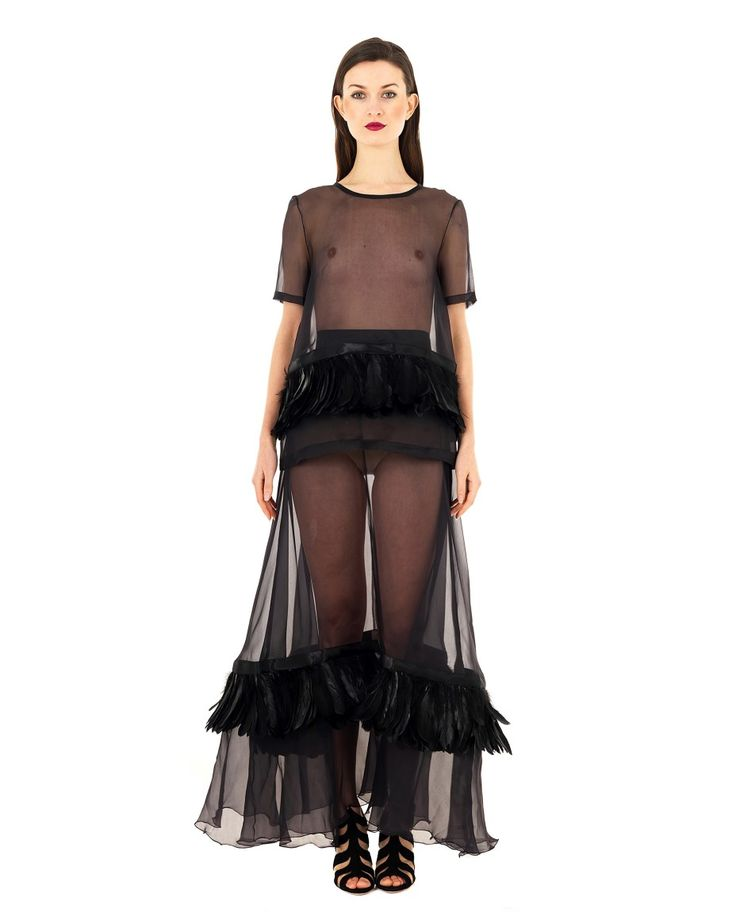 DOMENICO CIOFFI TRANSPARENT SILK BLOUSE S/S 2016 Black silk blouse transparent look crew-neck short sleeves decorated with feathers 100%SE