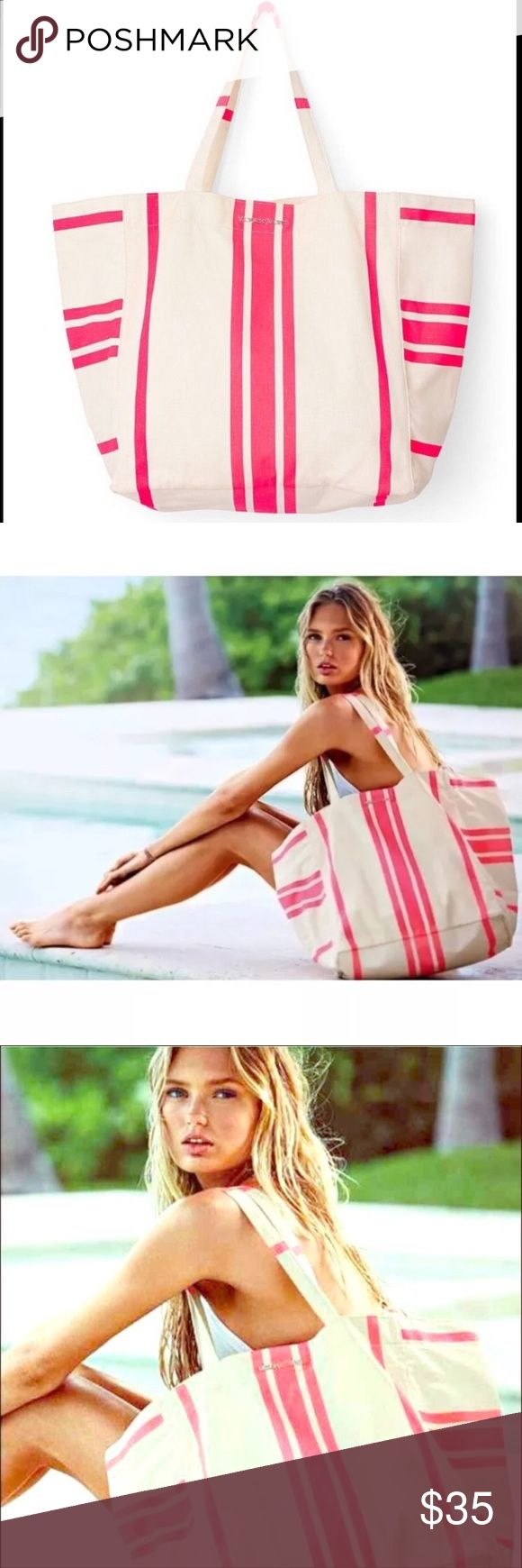 """NEW~ Victoria's Secret Striped Canvas Bag Tote VICTORIA'S SECRET Sun & Fun Canvas Tote  Condition: New with tags  Product Details:  Limited Edition Measures 24"""" L x 9.5"""" W x 14"""" H Canvas Material Large & Spacious Great as an everyday tote or beach bag Victoria's Secret Bags Totes"""
