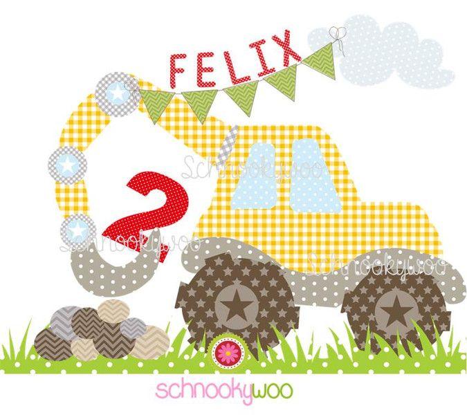 Bügelbilder - BÜGELBILD ♥ Kleiner Bagger ♥ - ein Designerstück von Schnookywoo bei DaWanda