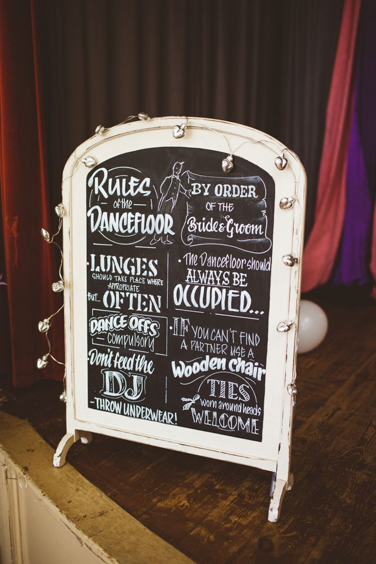 Dance Floor Rules Sign Black Chalk Board Pretty DIY Outdoor Village Hall Wedding https://photography34.co.uk/