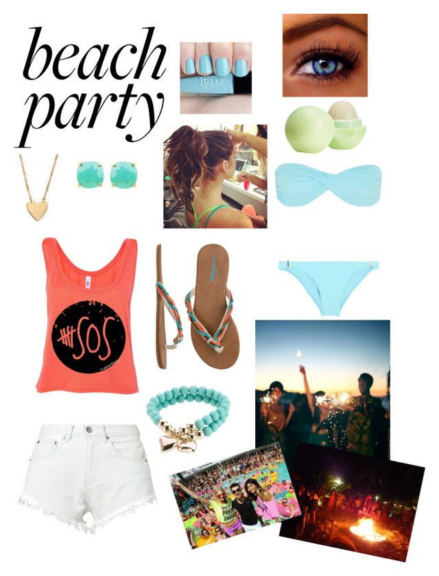 """""""Beach party outfit"""" by boys-tears-prxncess ❤ liked on Polyvore featuring Volcom, Bitching & Junkfood, Melissa Odabash, Fortuna, sweet deluxe, Jennifer Zeuner and Topshop"""