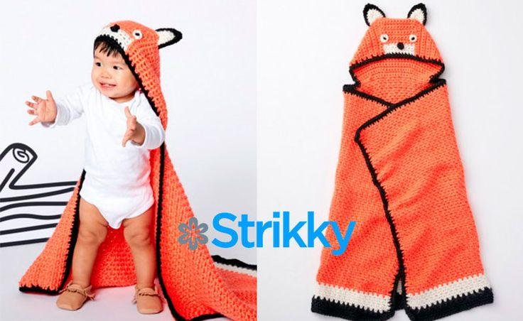 Такое милое вязаное крючком одеяло с капюшоном «Лисичка» от Bernat станет отличным хенд-мейд аксессуаром для малыша.