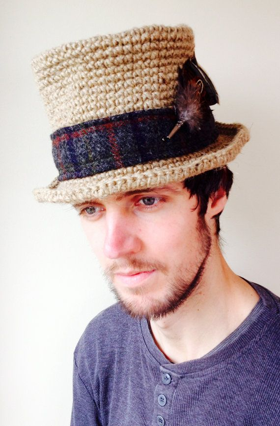 Unisex Top Hat in Crocheted Hemp Yarn with Dark Grey Tweed Hat Band and Feather Hat Pin, from Ireland