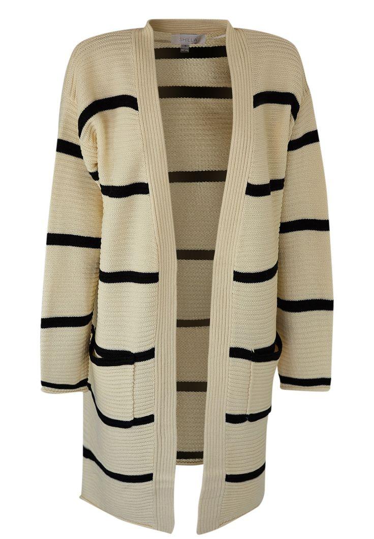 Shilla - Prime Stripe Cardigan In Cream/Black