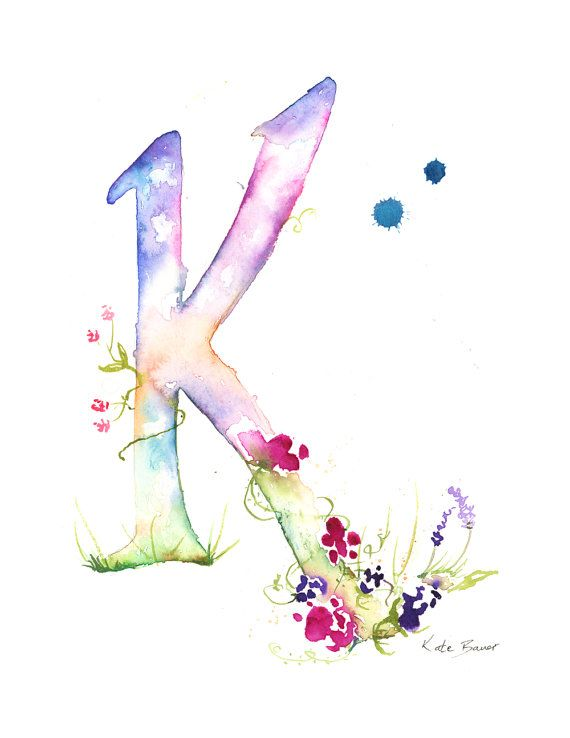 Letter L Watercolor Monogram Flower by MilkandHoneybread on Etsy