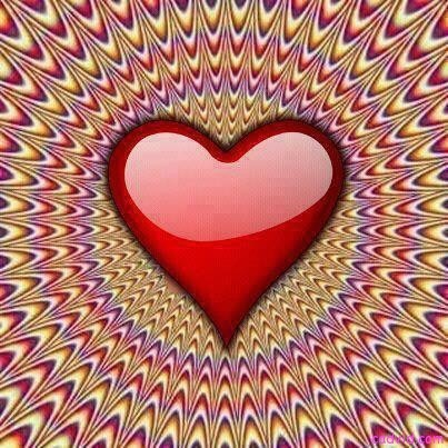 red heart picture illusion