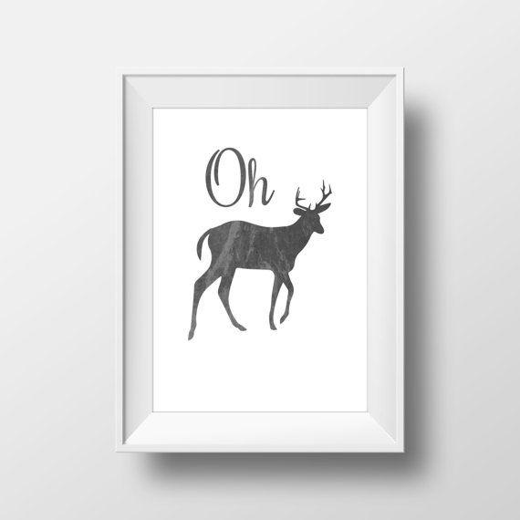 Oh Deer Print Black Watercolor Deer Print Deer by WanderlustStar