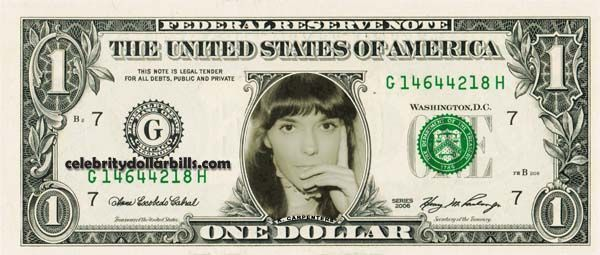 KAREN CARPENTER – Real Dollar Bill Cash Money Collectible Memorabilia Celebrity Novelty Bank Note Dinero