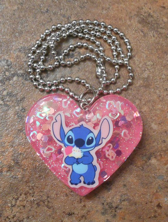 Inspired Stitch Resin Heart Necklace Disney
