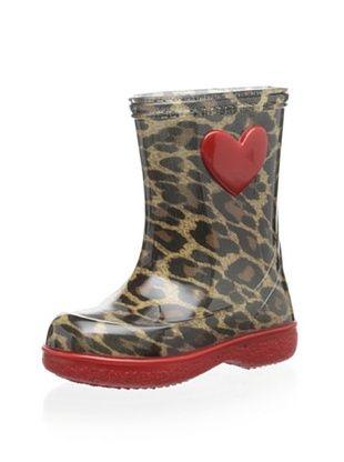 48% OFF igor Kid's Pipo Leo Rain Boot (Leopardo/Rojo)