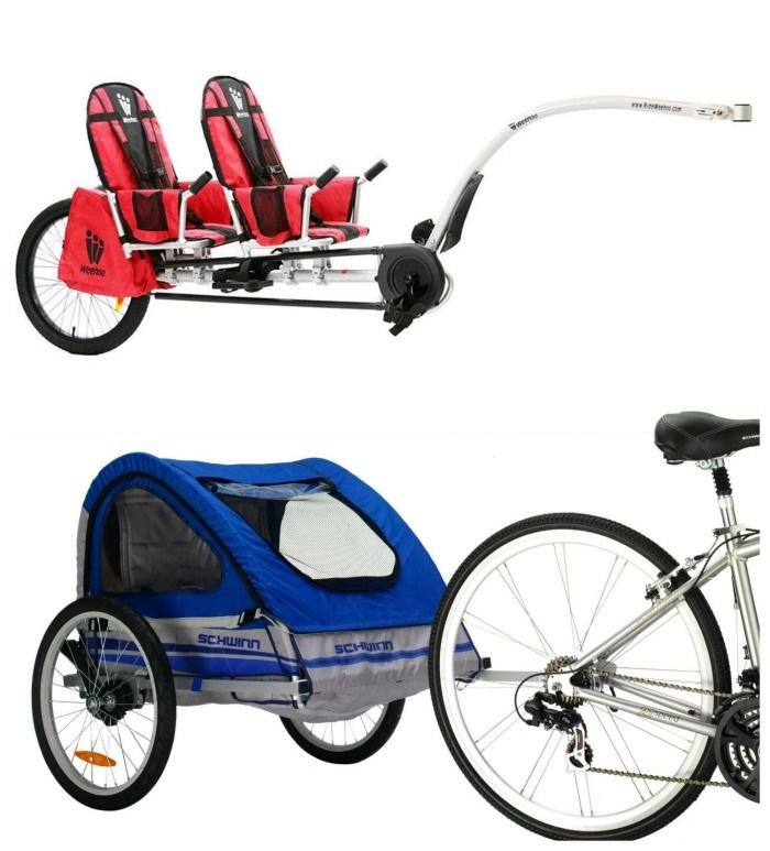 Different Bike Trailers and options for riding bikes with kids