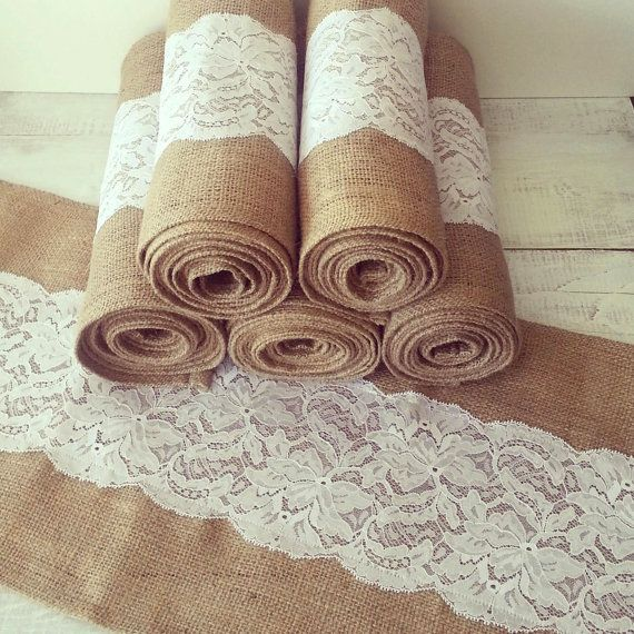 "Burlap and Lace Table Runner - 12"" x 108"" Burlap and White Lace on Etsy, $28.00"