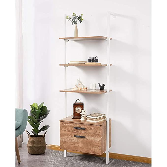 Amazon Com Oneinmil Industrial Bookshelf 4 Shelf Bookcase With Wood Drawers And Matte Steel Frame Storage In 2020 Wood Drawers 4 Shelf Bookcase Industrial Bookshelf #rack #for #living #room