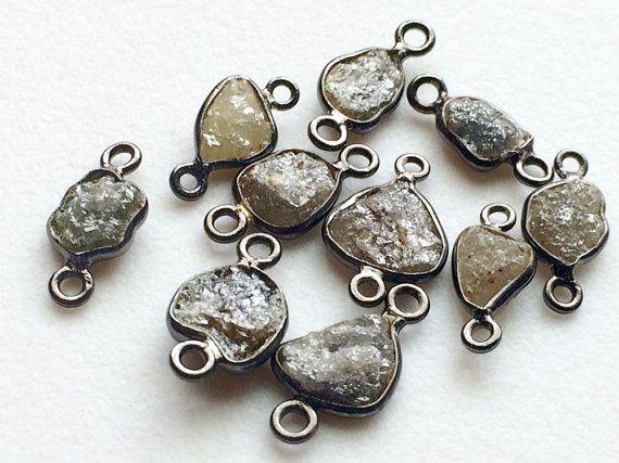 2 Pcs Oxidized Silver Grey Rough Diamond by gemsforjewels on Etsy