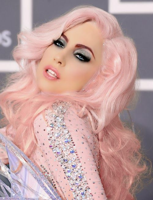 Lady Gaga with Cotton Candy colored hair.  Scott Cornwall Hair Expert: Going Platinum is easier when you are short!!