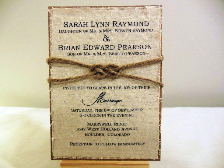 DIY Rustic Wedding Invitation Kit Burlap Fabric por PoshestPapers