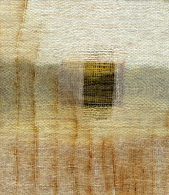 """""""Looking Through"""" Hand woven linen, paper, and bamboo; dye & discharge, collaged with rust printed silk organza, gold foil & silk with stitching -by Karen Henderson"""