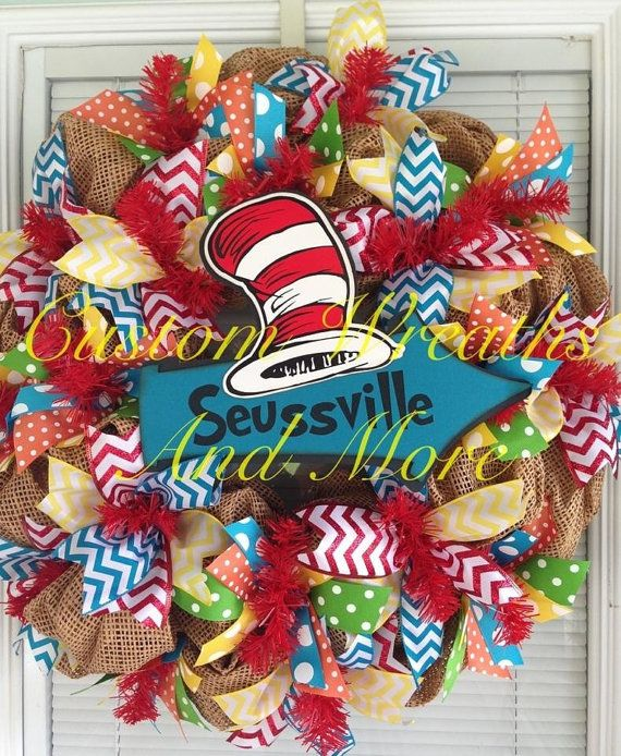 @Chrissy L L L L L L L Sweeney  this would make a cute teacher gift  Dr. Seuss mesh wreath on Etsy, $85.00