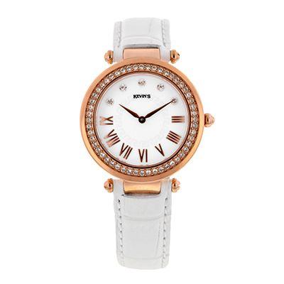 Reloj para Dama, tablero redondo, blanco, puntos + romanos, analogo, pulso cuero blanco