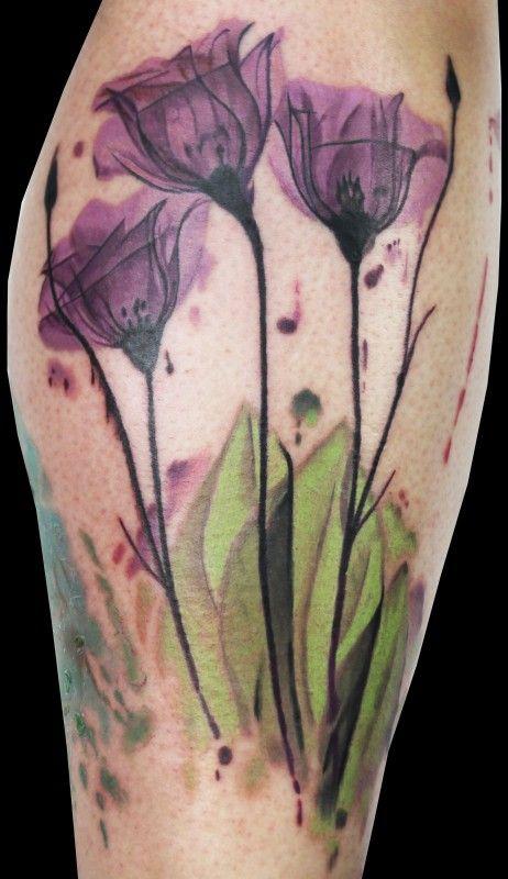 Watercolor Purple Tattoo Designs