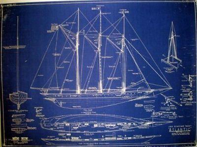 Racing Schooner Yacht Atlantic 1905 Blueprint Plan In Antiques Maritime Blueprints