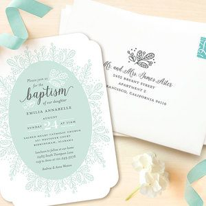 Celebrate your little one's baptism with Whimsical Wreath Baptism & Christening Announcements by Jessica Williams available at minted.com