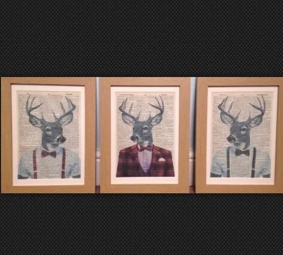 3 x vintage stag deer head dictionary page print wall art Wall pictures