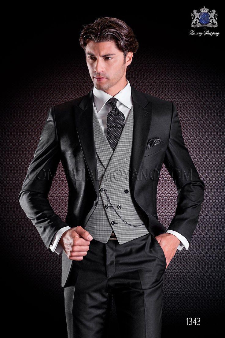 Traje de novio negro. Traje moderno con 1 botón y exclusivo corte italiano. Traje moderno colección fashion 1343 Ottavio Nuccio Gala