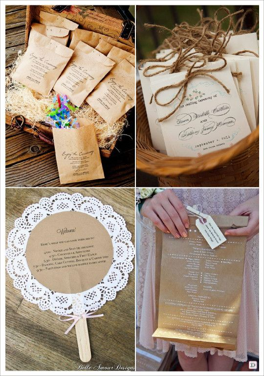 Idees livret messe programme mariage sachet papier kraft for Idee menu original