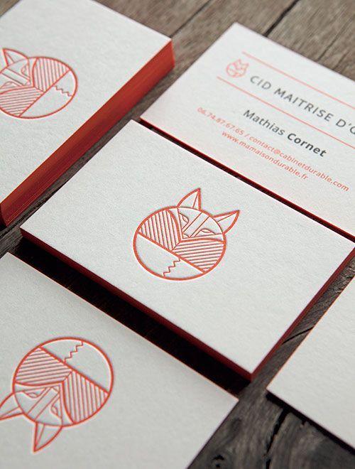 Cartes de visite impression recto verso sur papier buvard blanc naturel / letterpress business cards printed in pantone 172U and black 6U #BusinessCards