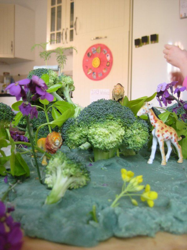 Great idea for a jungle small world made with play dough