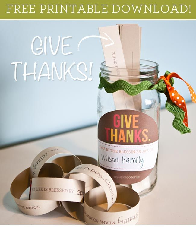 """You can make this Gratitude Jar FREE!  """"What are you grateful for? Get ready for Thanksgiving with a printable gratitude jar. Simply print a label for your jar and fill it full of your family's responses to a series of fun and unique gratitud"""