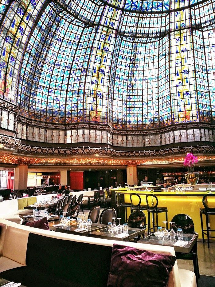 The Printemps Cafe in Paris, France: beautiful stained glass window and a lovely place to eat