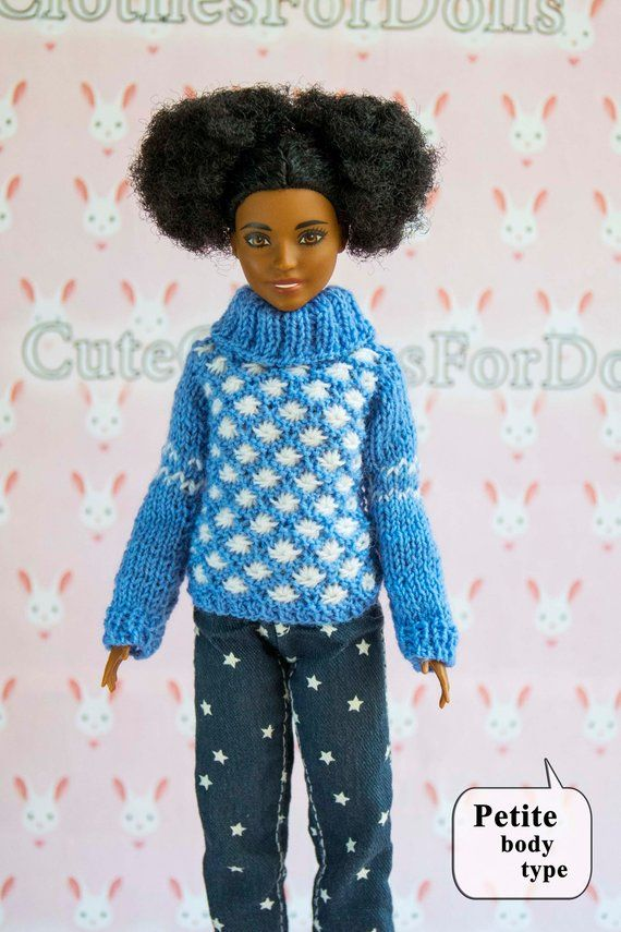 9c9f696e2a Barbie clothes. Doll sweater. Handmade blue white knitted pullover ...
