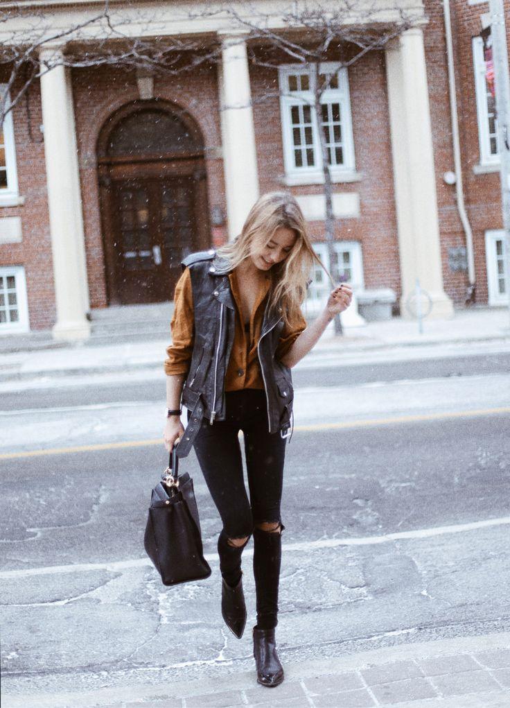 Leather vest: Vintage / Mustard blazer: ZARA / Black ripped jeans: ASOS / Bag: Fendi / Boots: Sigerson Morrison - CLASSISINTERNAL http://FashionCognoscente.blogspot.com