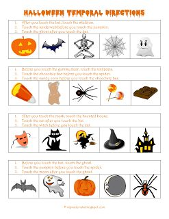 Basic Concepts: Temporal Directions (Halloween)  - Pinned by @PediaStaff – Please Visit  ht.ly/63sNt for all our pediatric therapy pins
