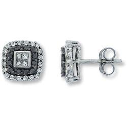 Jared Black Diamond Earrings 1 2 Ct Tw Princess Round 14k White Gold
