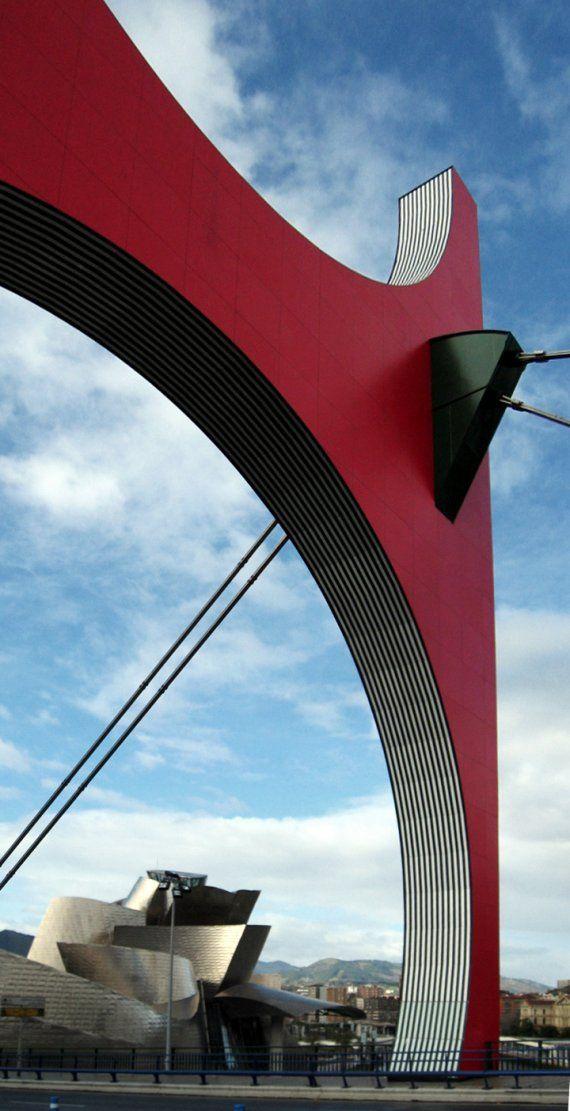Red arch on La Salve Bridge, Barcelona, Spain designed by Artist Daniel Buren :: La Salve Bridge designed by Juan Batanero